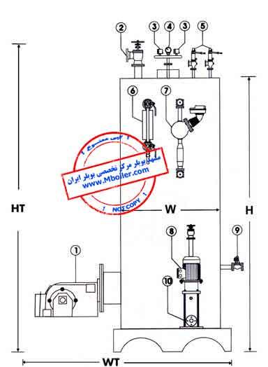 اطلاعات ابعادی دیگ بخار عمودی